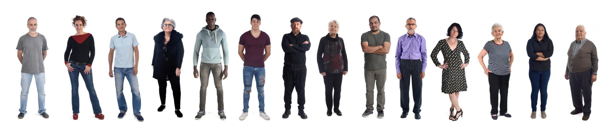 group of mixed people on white